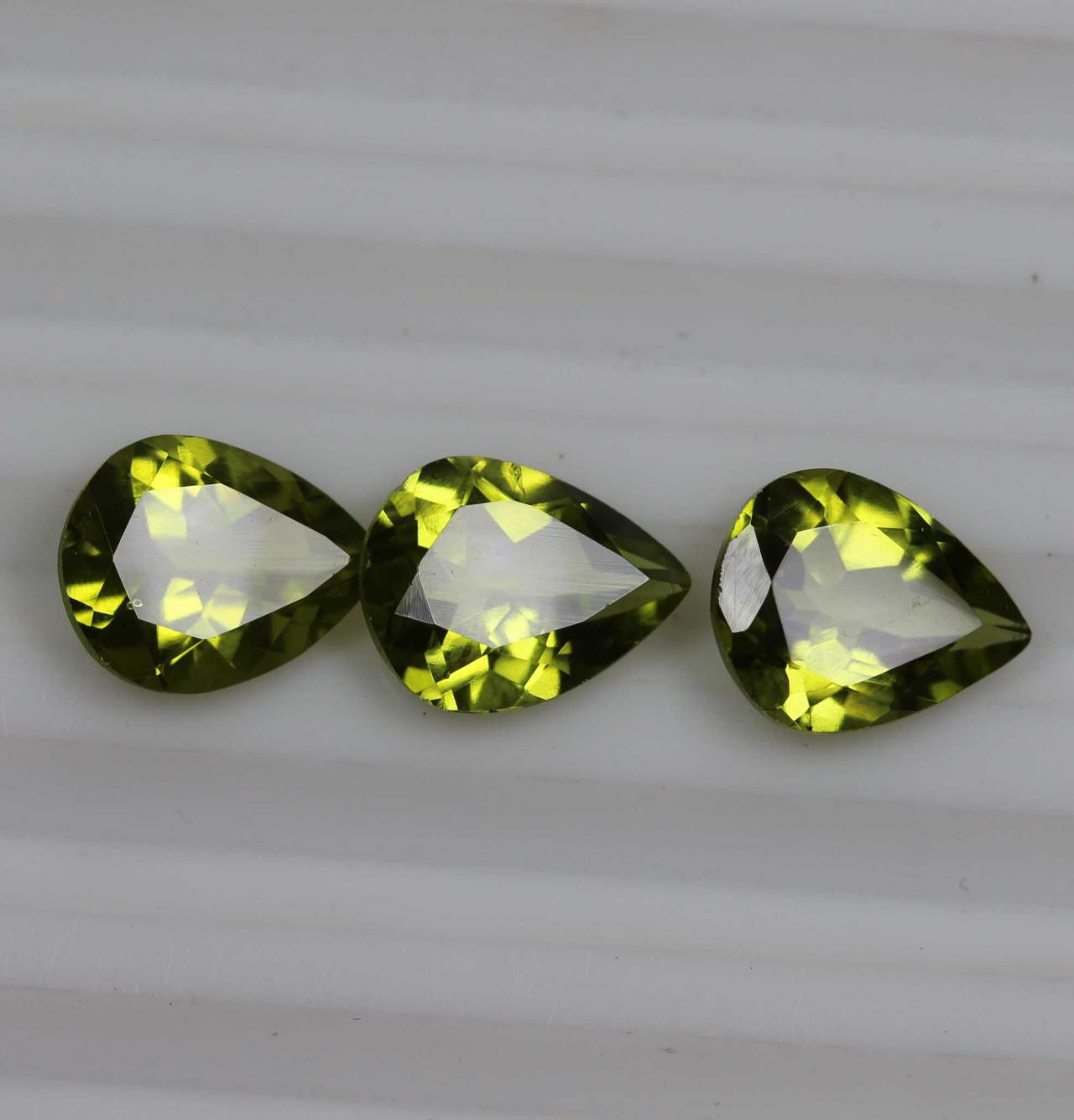 6x8mm Natural Peridot Faceted Cut Pear 25 Pieces Lot Calibrated Size VS Quality Green Color Loose Gemstone