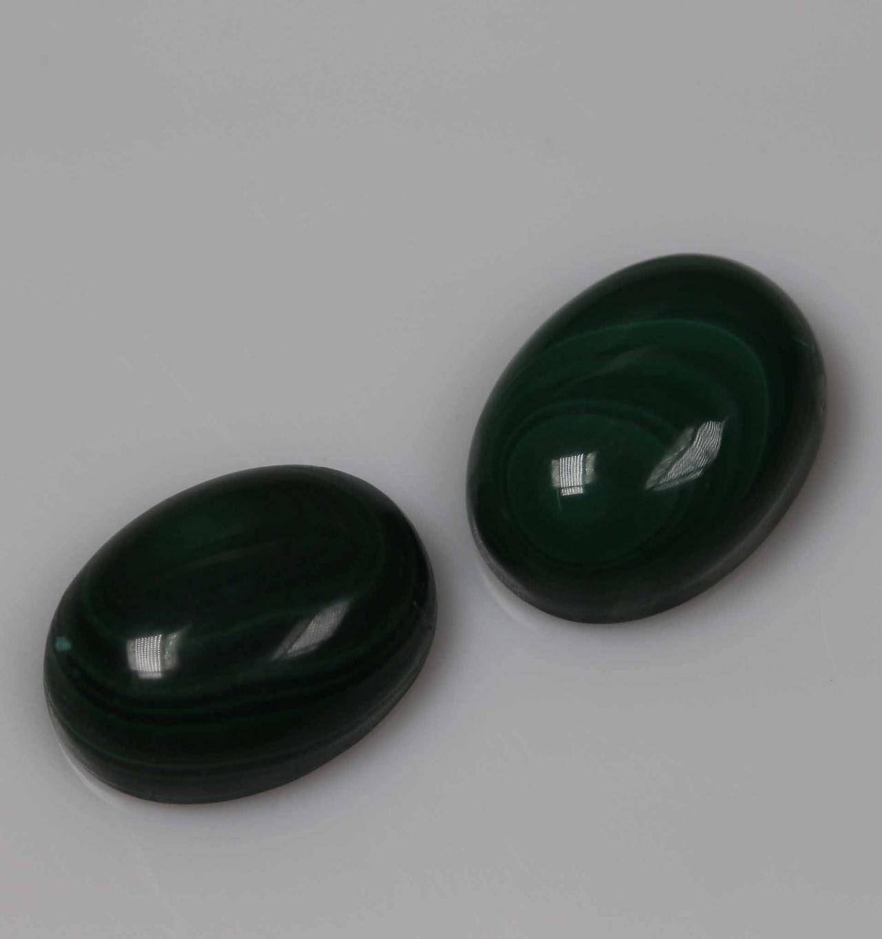 7x5mm Natural Malachite Cabochon Oval 2 Piece (1 Pair) Calibrated Size Top Quality Green Color Loose Gemstone