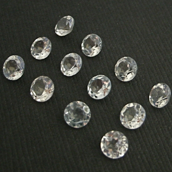 5mm Natural Crystal Quartz Faceted Cut Round 2 Piece (1 Pair ) Calibrated Size Top Quality white Color Loose Gemstone