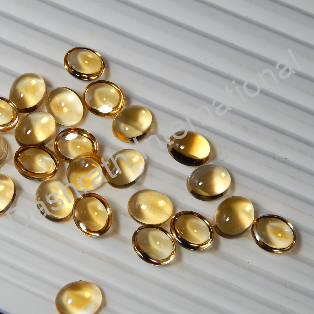 3x5mm Natural Citrine Cabochon Oval 100 Pieces Lot Yellow Color Calibrated Size Top Quality Loose Gemstone
