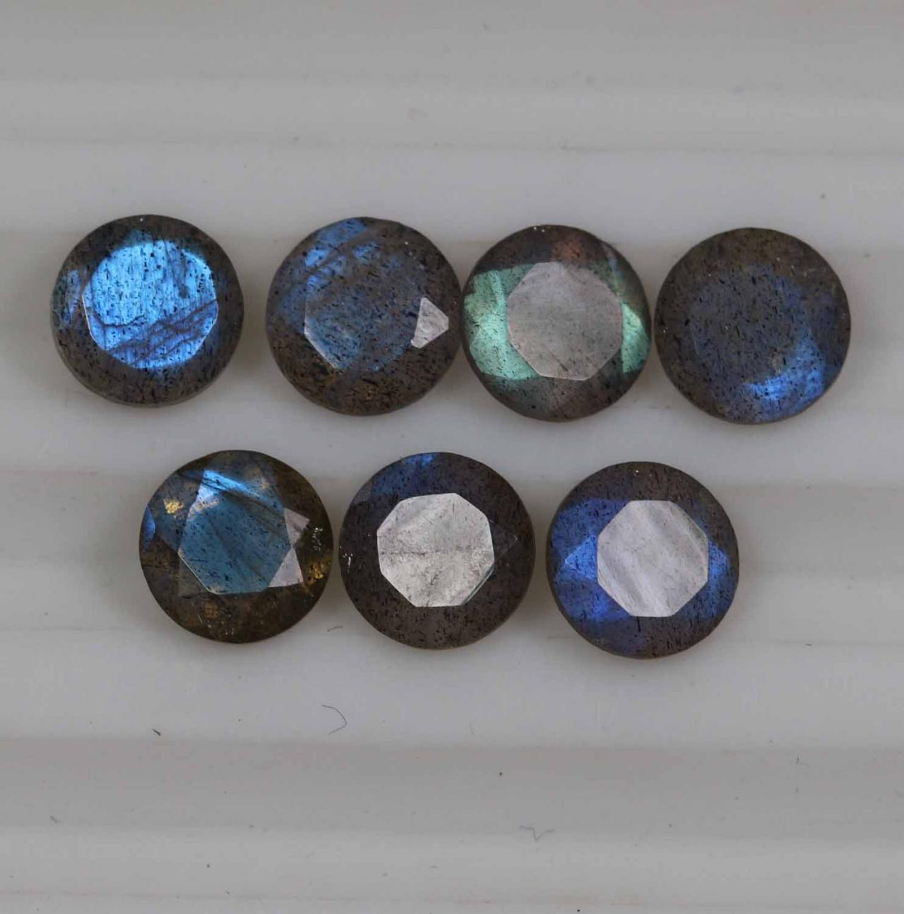14mm Natural Labradorite Faceted Cut Round 2 Piece (1 Pair) Gray Color Blue Power Calibrated Size Top Quality Loose Gemstone
