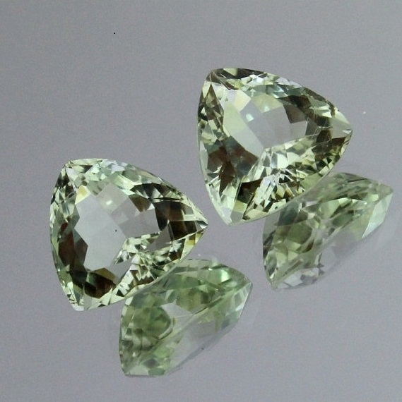 5mm Natural Green Amethyst Faceted Cut Trillion 5 Pieces Lot Green Color Top Quality Loose Gemstone
