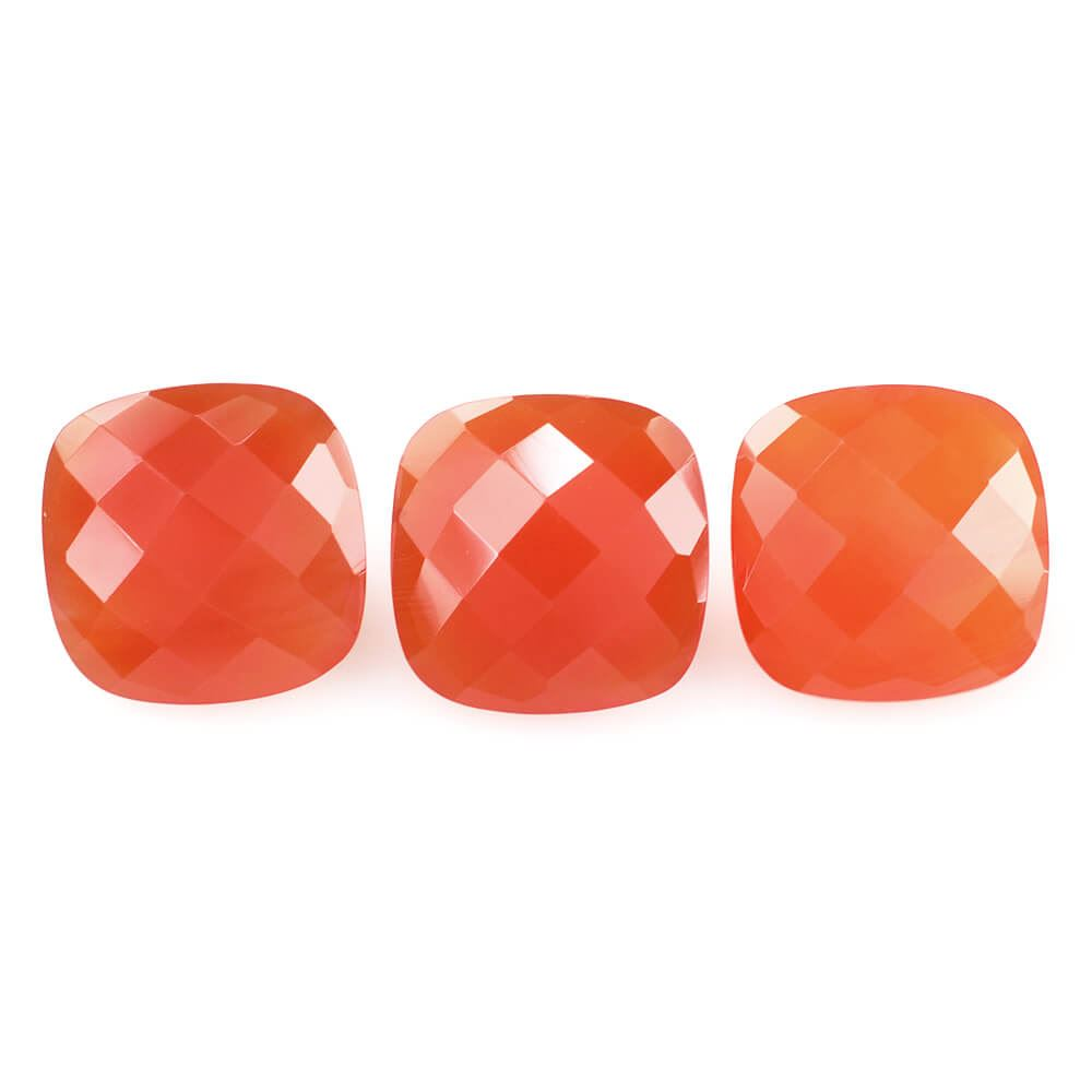 8mm Natural Carnelian Checkerboard Cut Cushion 25 Pieces Lot Calibrated Size Top Quality Orange Color Loose Gemstone
