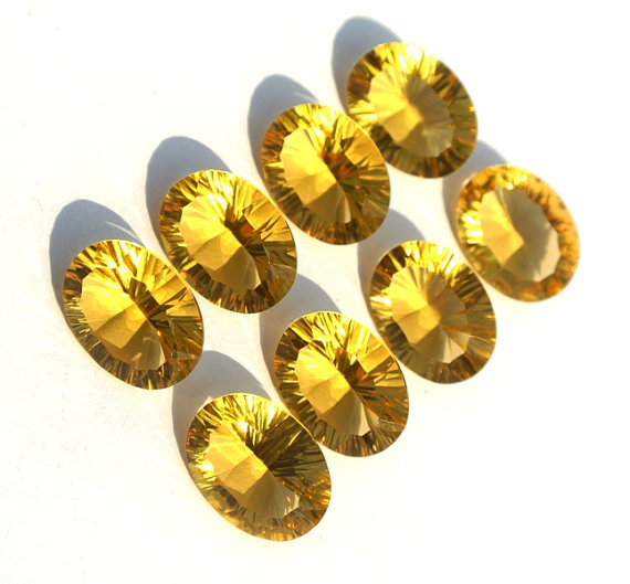8X10mm Natural Citrine Concave Cut Oval 50 Pieces Lot Calibrated Size Top Quality yellow Color Loose Gemstone