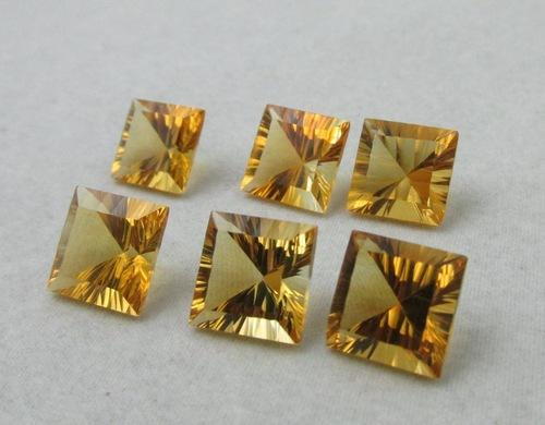 5mm Natural Citrine Concave Cut Square 75 Pieces Lot Calibrated Size Top Quality yellow Color Loose Gemstone