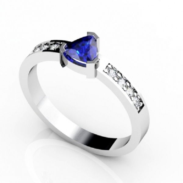 Sterling Silver Ring With Genuine Natural Tanzanite 5mm Trillion Cut And White Topaz Gemstone Ring