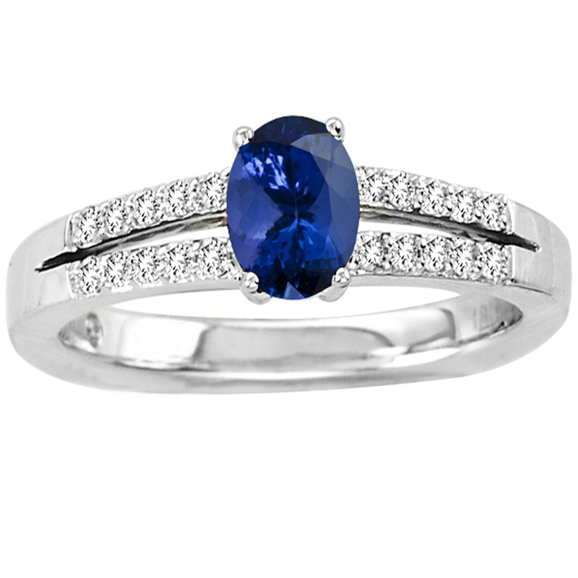 Sterling Silver Ring With Genuine Natural Tanzanite 6x4mm Oval Cut And White Topaz Gemstone Ring