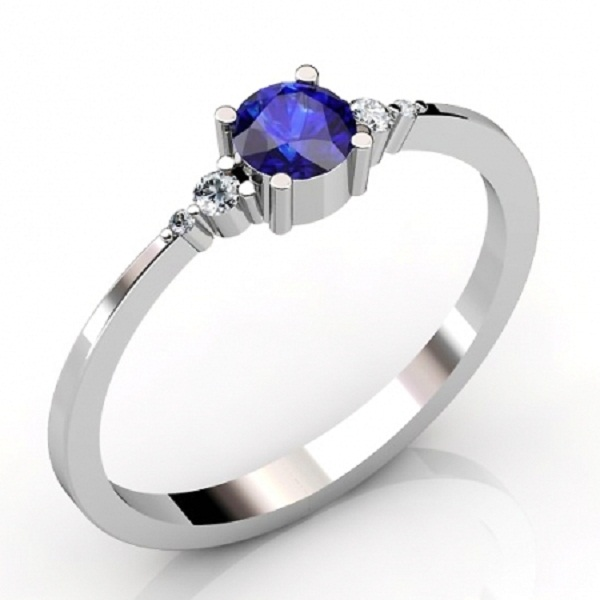 Sterling Silver Ring With Genuine Natural Tanzanite 4mm Round Cut And White Topaz Gemstone Ring