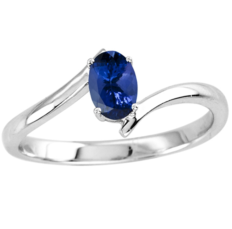 Sterling Silver Ring With Genuine Natural Tanzanite 6x4mm Oval Cut Gemstone Ring