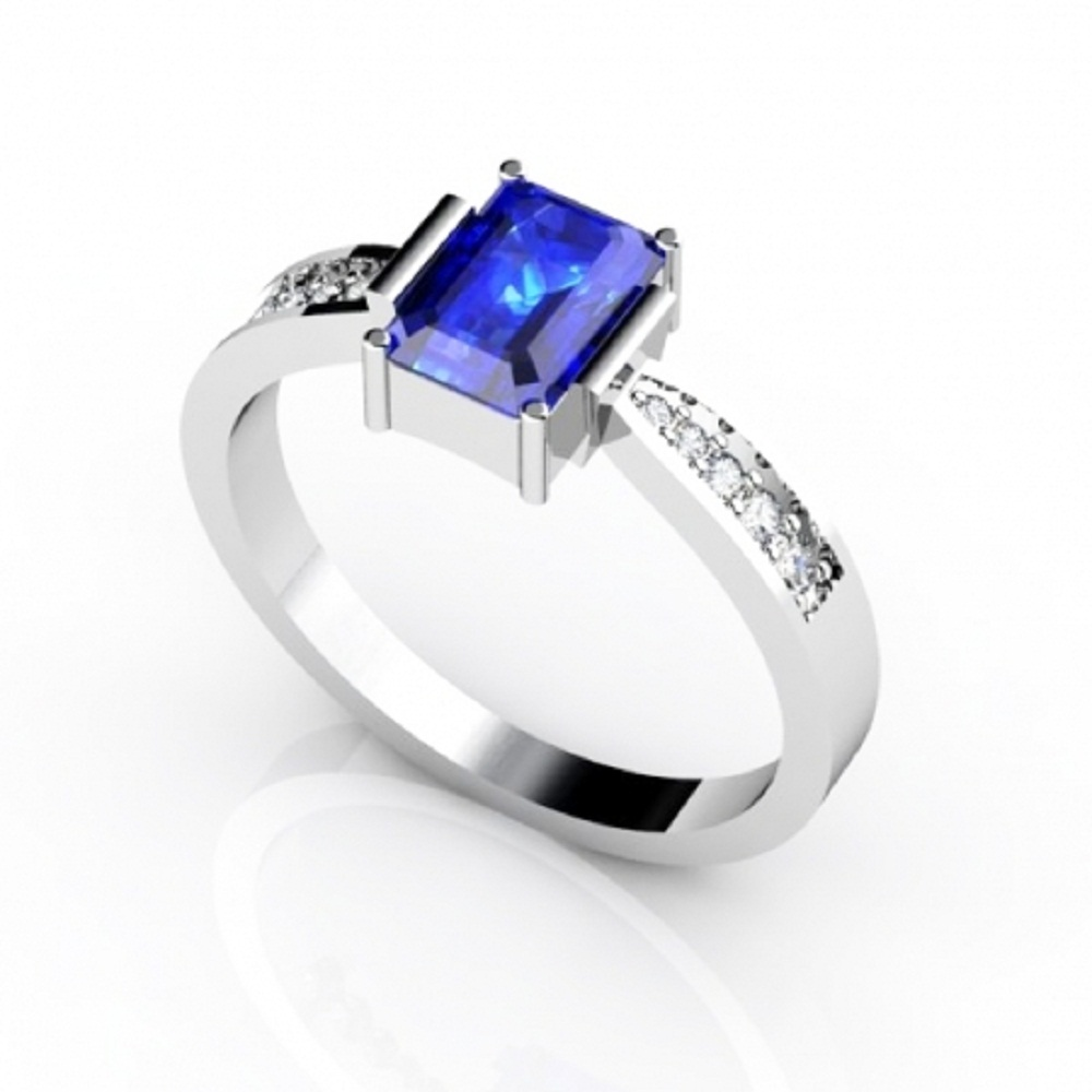 925 Sterling Silver Ring With Genuine Natural Tanzanite 7x5mm Emerald Cut And White Topaz Gemstone Ring