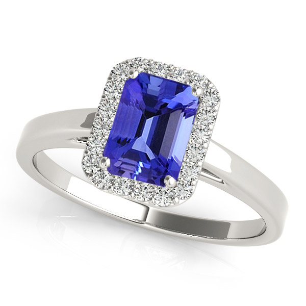 Silver Ring With Genuine Natural Tanzanite 5x7mm Octagon Cut And White Topaz Gemstone Ring
