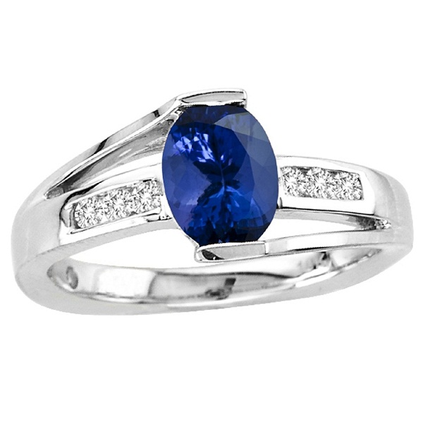 Sterling Silver Ring With Genuine Natural Tanzanite 6x8mm Oval Cut And White Topaz Gemstone Ring