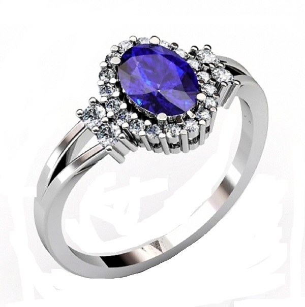 Sterling Silver Ring With Genuine Natural Tanzanite 7.5x5.5mm Oval Cut And White Topaz Gemstone Ring
