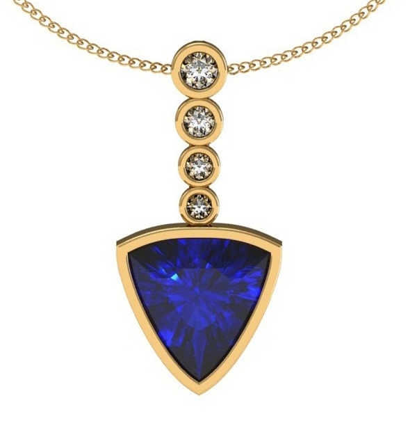 925 Sterling Silver With Yellow Rhodium Pendant With Genuine Natural Tanzanite 7mm Trillion Cut And White Topaz Gemstone Pendant