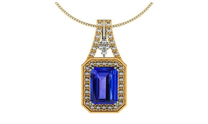Silver With Yellow Rhodium Pendant With Genuine Natural Tanzanite 8x6mm Octagon Cut And White Topaz Gemstone Pendant