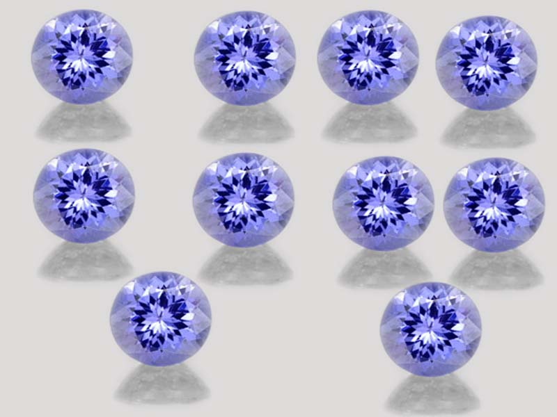 Natural Tanzanite 5mm 25 Pieces Lot Faceted Cut Round Top Quality AA Color - Loose Gemstone