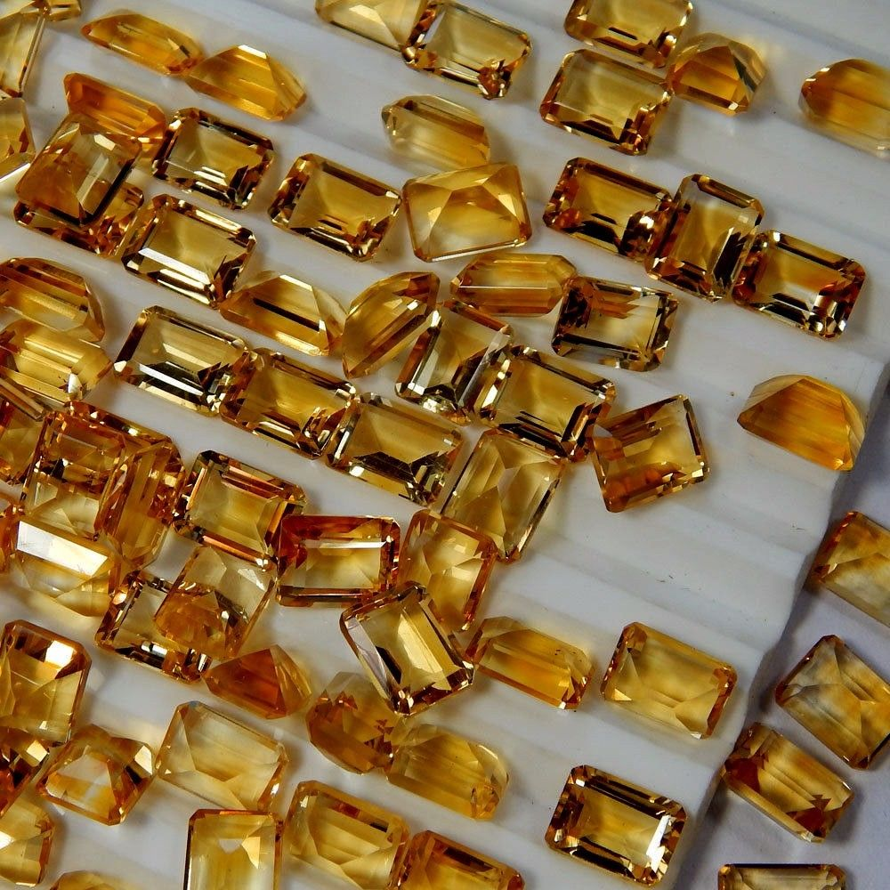 Natural Citrine - 7x5mm 10 Pieces Lot Calibrated Size Faceted Cut Octagon Yellow Color - Natural Loose Gemstone