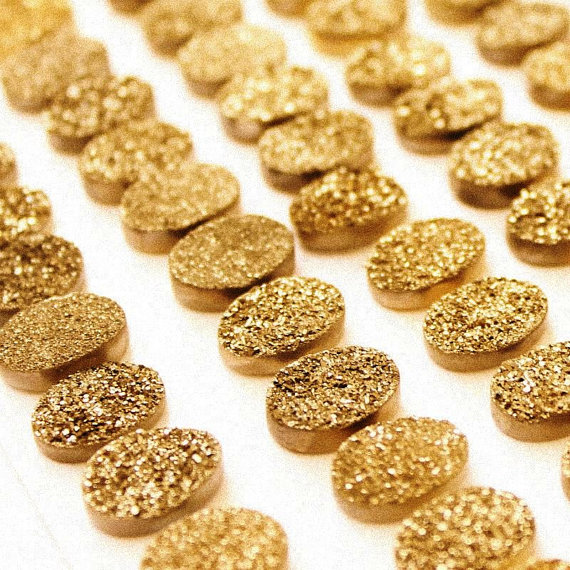 Natural 10x14mm 50 Pieces Gold Color Coating Flat Druzy Oval Best Top Gold Color Gemstone Lot