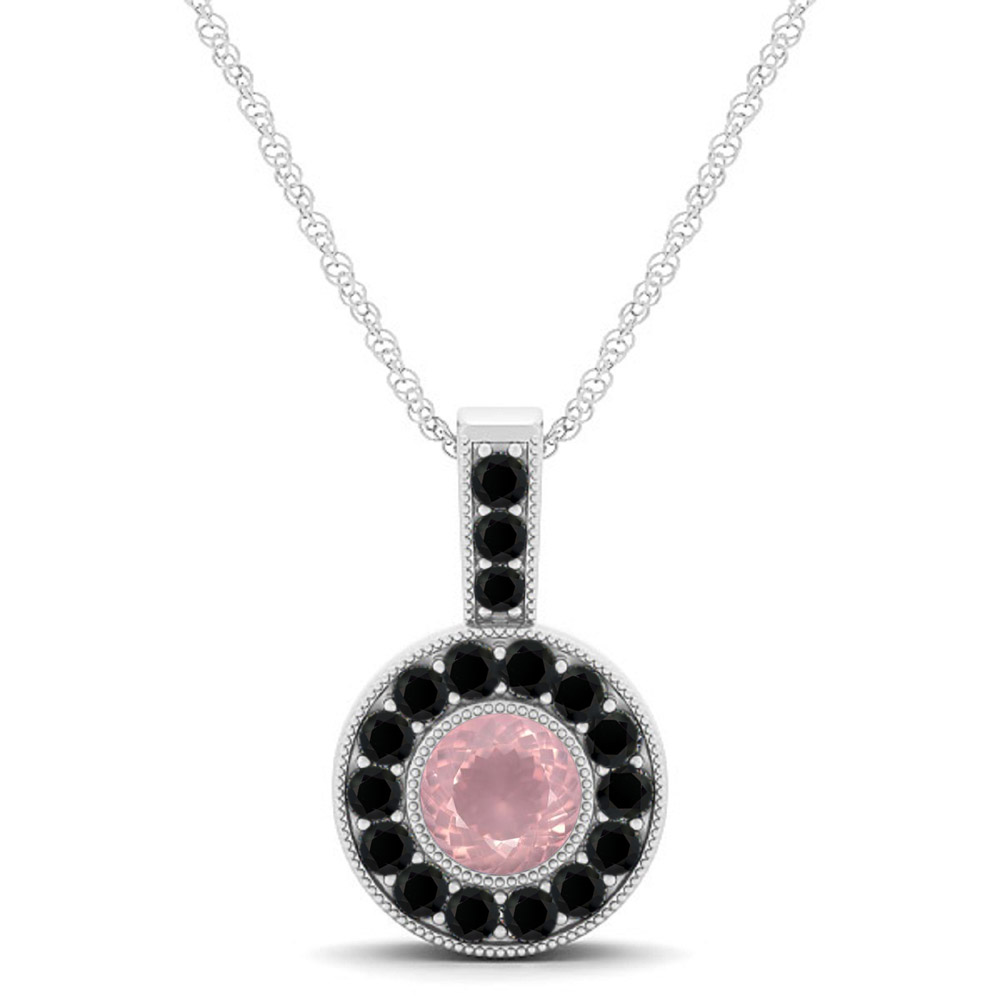 925 Sterling Silver Pendant Natural Rose Quartz 6mm Round Cut With Black Spinel Gemstone Pendant