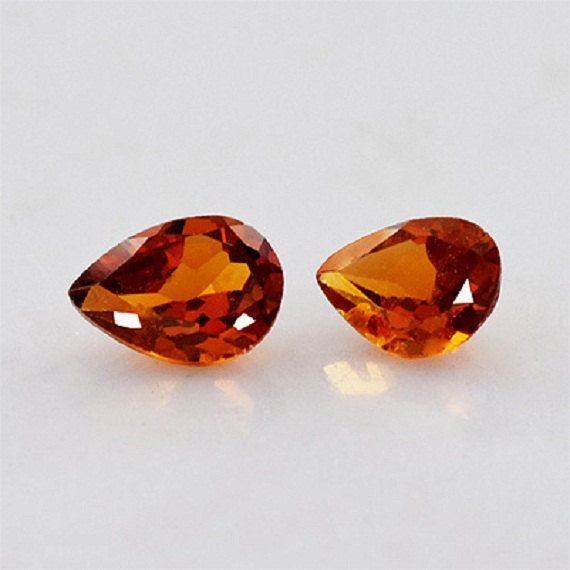 5x3mm Natural Hessonite Garnet - Faceted Cut Pear 2 Pieces Top Quality Brown Red Color - Loose Gemstone Wholesale Lot For Sale