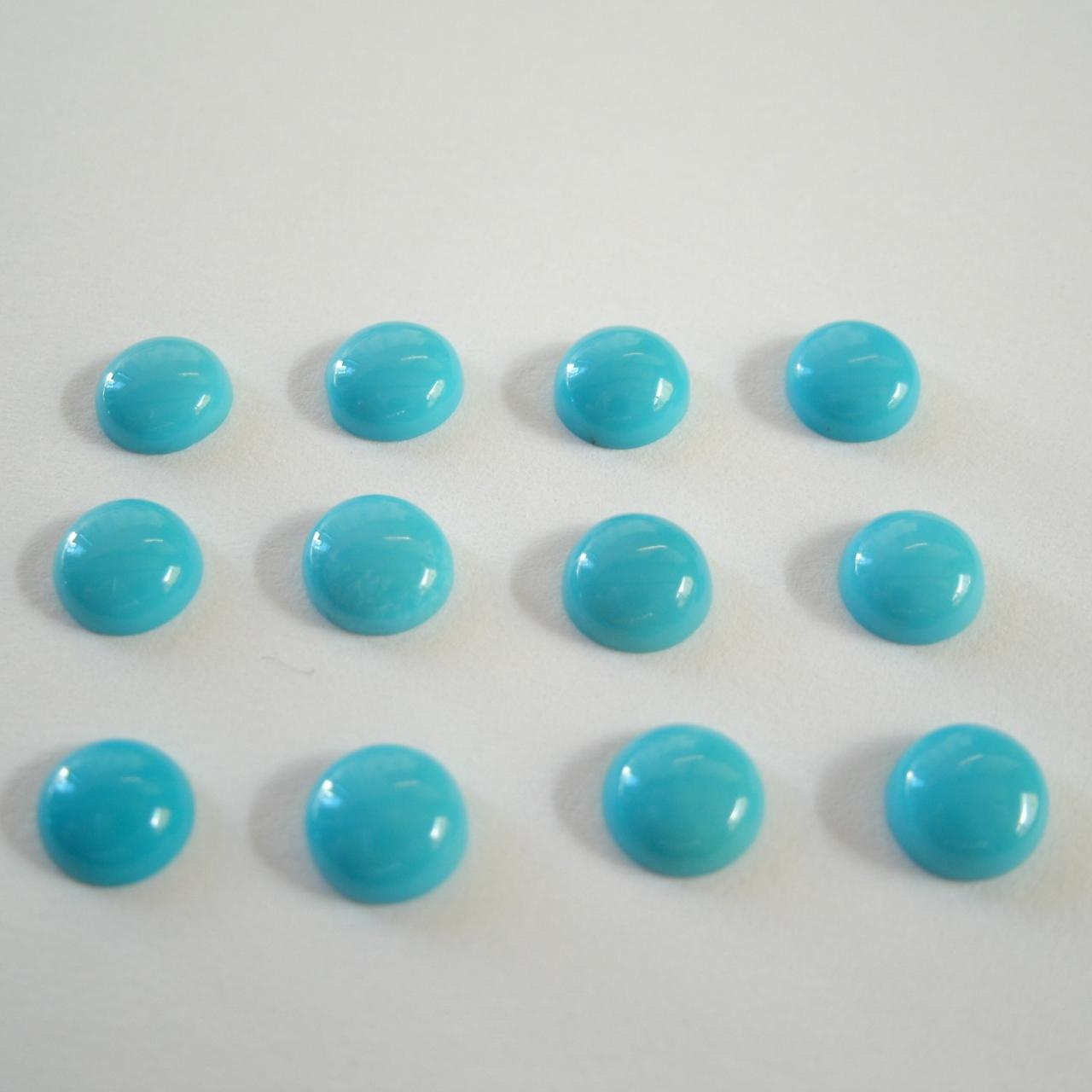 Natural Turquoise 8mm Cabochon Round 1 Pieces Lot Turquoise Color Top Quality - Natural Loose Gemstone Wholesale Lot For Sale