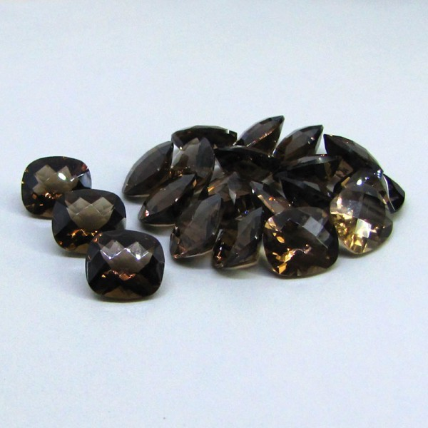 Natural Smoky Quartz 15x20mm Faceted Cut Long Cushion 50 Pieces Lot Brown Color Top Quality - Natural Loose Gemstone Wholesale Lot For Sale
