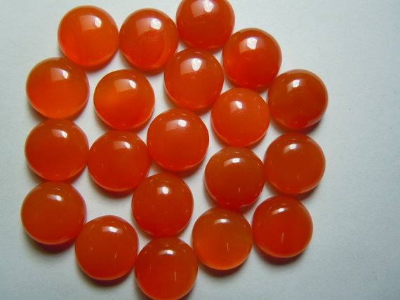 Natural Carnelian 6mm Cabochon Round 5 Pieces Lot Orange Color - Natural Loose Gemstone