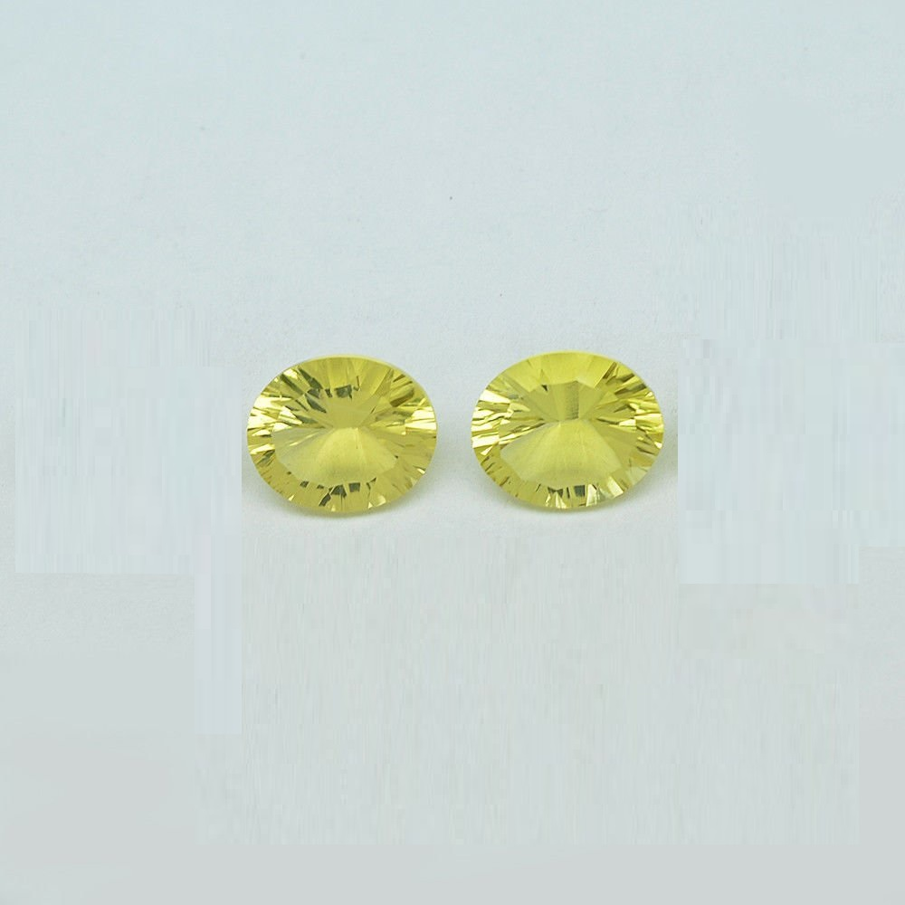 Natural Lemon Quartz 10x12mm Oval Concavre Cut 2 Pieces Yellow Color - Natural Loose Gemstone