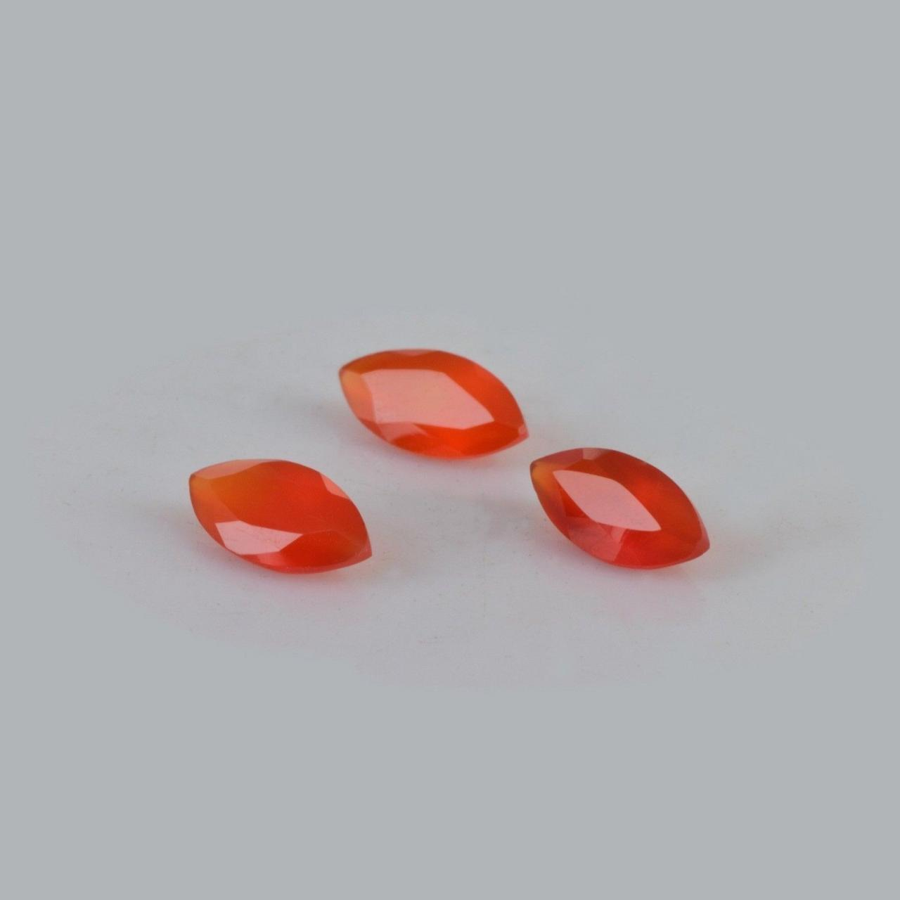 Natural Carnelian 12x6mm Faceted Cut Marquise 2 Pieces Lot Orange Color - Natural Loose Gemstone