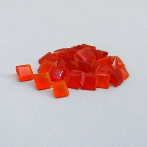 Natural Carnelian 5mm Faceted Cut Square 5 Pieces Lot Orange Color - Natural Loose Gemstone
