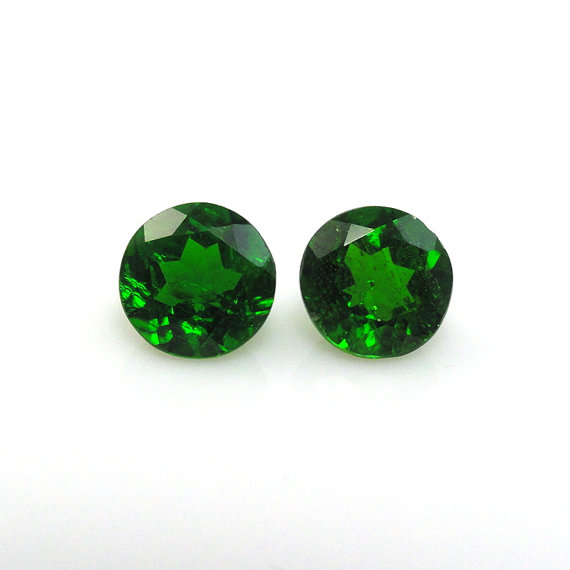 Natural Chrome Diopside- 8mm 1 Pieces Lot Faceted Round Calibrated Size Green Color - Loose Gemstone