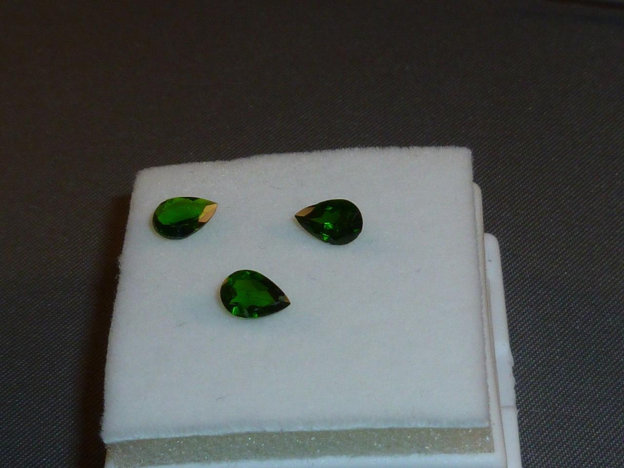 Natural Chrome Diopside- 6x8mm 2 Pieces Lot Faceted Pear Calibrated Size Green Color - Loose Gemstone