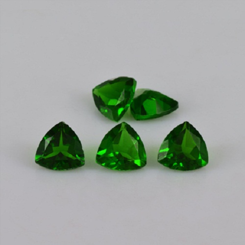 Natural Chrome Diopside- 4mm 5 Pieces Lot Faceted Trillion Calibrated Size Green Color - Loose Gemstone