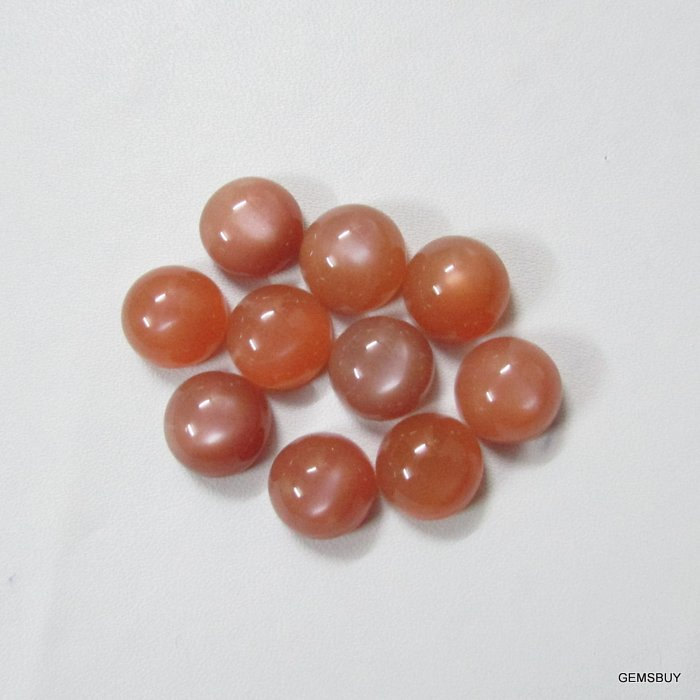 15mm Natural Peach Moonstone Cabochon Round 5 Pieces Lot Top Quality Gray Color Loose Gemstone Wholesale Lot For Sale