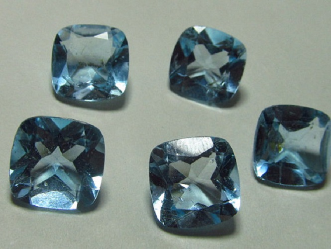 Natural Sky Blue Topaz 8mm 25 Pieces Lot Faceted Cut Cushion Blue Color - Natural Loose Gemstone