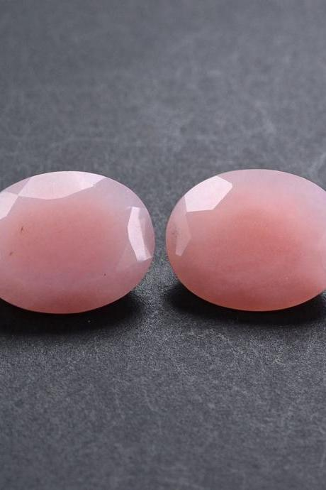 8x10mm Natural Pink Opal 2 Piece (1 Pair) Faceted Cut Oval Top Quality Pink Color Loose Gemstone Wholesale Lot For Sale