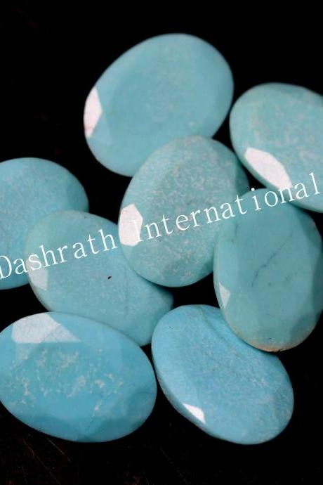 6x8mm Natural Turquoise Oval Faceted Cut 100 Pieces Lot Calibrated Size Top Quality Loose Gemstone
