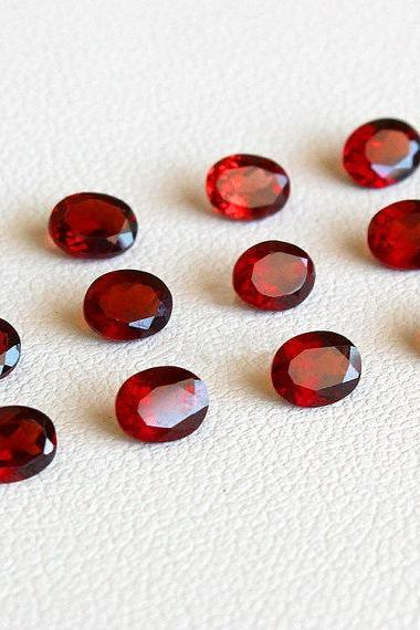 10x8mm Natural Red Garnet Faceted Cut Oval 10 Pieces Lot Color ( AA) Red Garnet Top Quality Loose Gemstone