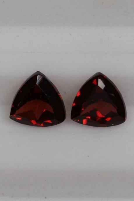 7mm Natural Red Garnet Faceted Cut Trillion 2 Piece (1 Pair) Color ( AA) Red Garnet Top Quality Loose Gemstone