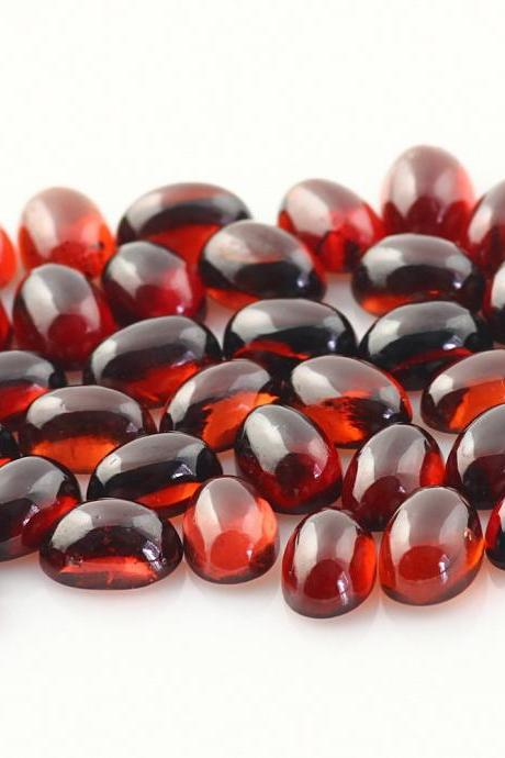 9x7mm Natural Red Garnet Cabochon Oval 2 Piece (1 Pair) Color ( AA) Red Garnet Top Quality Loose Gemstone