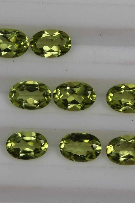 4x6mm Natural Peridot Faceted Cut Oval 5 Pieces Lot Calibrated Size VS Quality Green Color Loose Gemstone