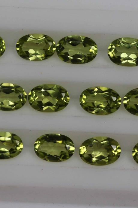 8x10mm Natural Peridot Faceted Cut Oval 5 Pieces Lot Calibrated Size VS Quality Green Color Loose Gemstone