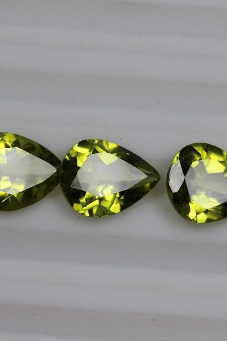 7x5mm Natural Peridot Faceted Cut Pear 5 Pieces Lot Calibrated Size VS Quality Green Color Loose Gemstone