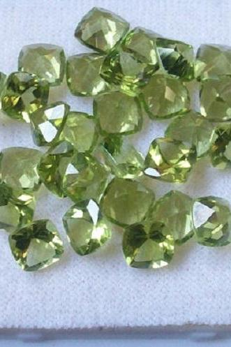 6mm Natural Peridot Faceted Cut Cushion 2 Piece (1 Pair) Calibrated Size VS Quality Green Color Loose Gemstone