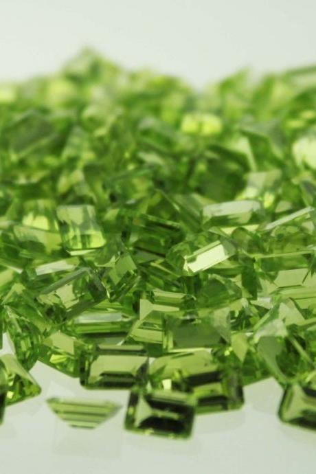 6x4mm Natural Peridot Faceted Cut Octagon 10 Pieces Lot Calibrated Size SI Quality Green Color Loose Gemstone