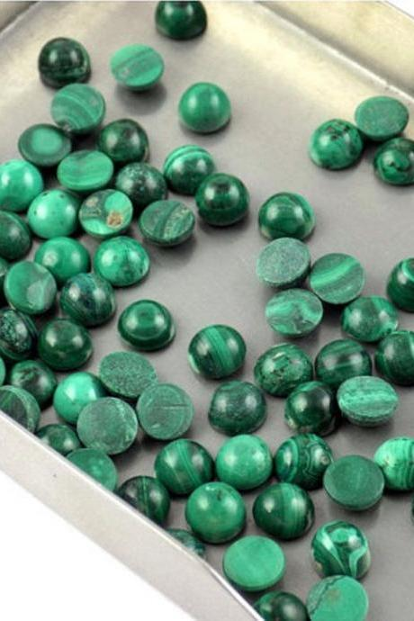 4mm Natural Malachite Cabochon Round 50 Pieces Lot Calibrated Size Top Quality Green Color Loose Gemstone