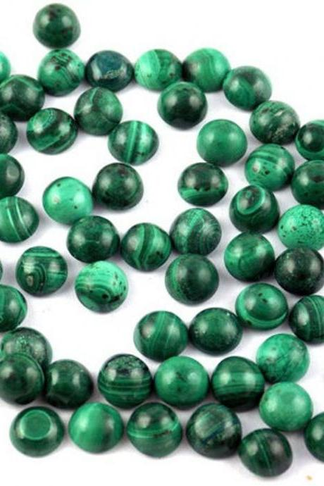 5mm Natural Malachite Cabochon Round 10 Piece Lot Calibrated Size Top Quality Green Color Loose Gemstone