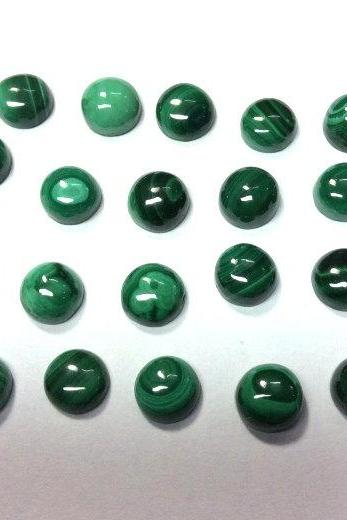 6mm Natural Malachite Cabochon Round 2 Piece (1 Pair ) Calibrated Size Top Quality Green Color Loose Gemstone