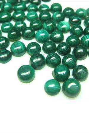 7mm Natural Malachite Cabochon Round 10 Pieces Lot Calibrated Size Top Quality Green Color Loose Gemstone