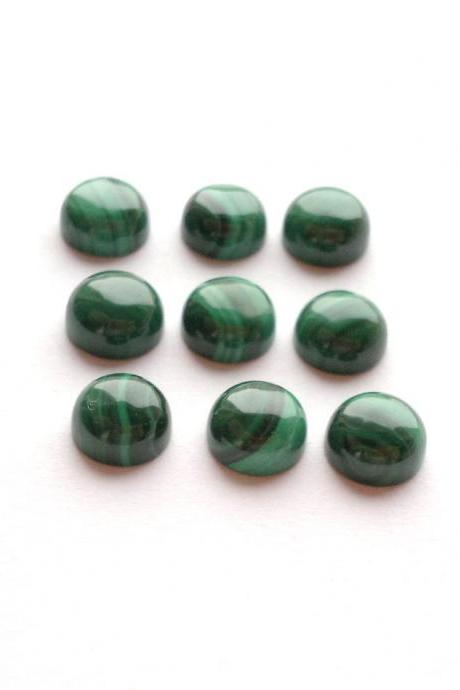 8mm Natural Malachite Cabochon Round 25 Pieces Lot Calibrated Size Top Quality Green Color Loose Gemstone